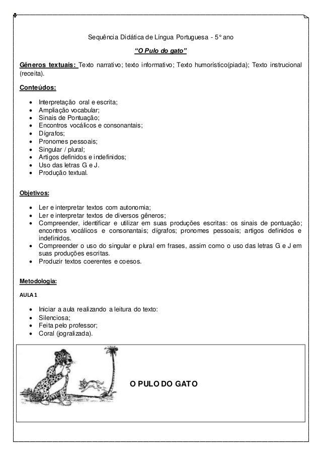 "Sequência Didática de Língua Portuguesa - 5° ano ""O Pulo do gato"" Gêneros textuais: Texto narrativo; texto informativo; Te..."