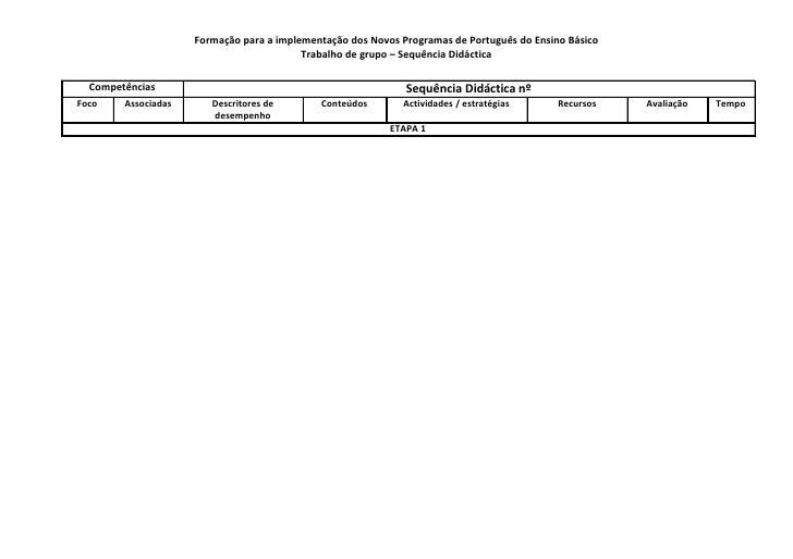 Formação para a implementação dos Novos Programas de Português do Ensino Básico                                           ...