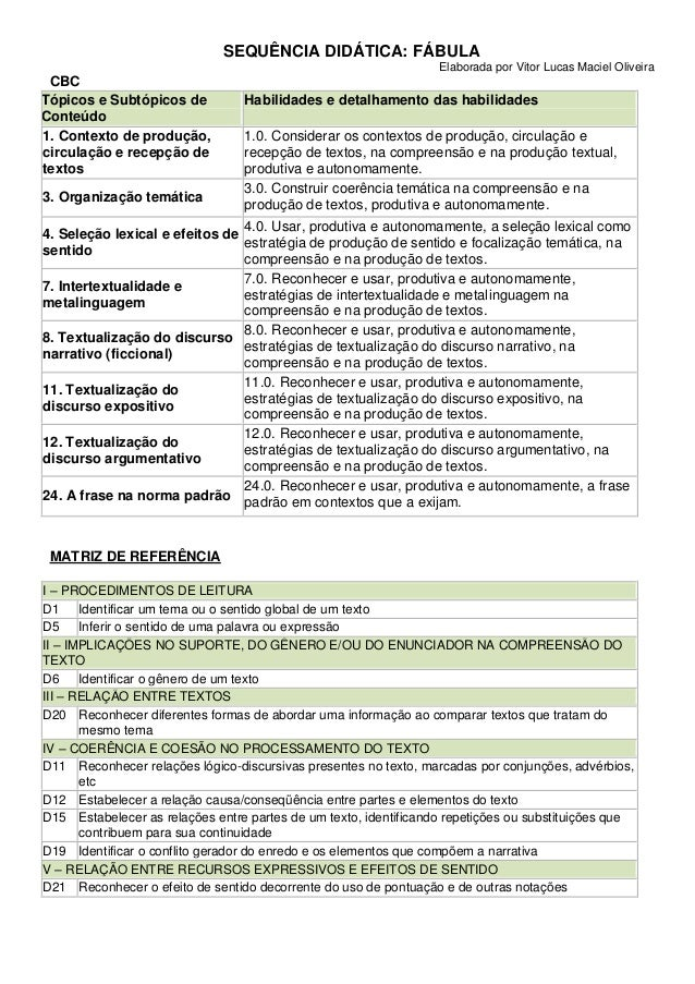 SEQUÊNCIA DIDÁTICA: FÁBULA Elaborada por Vitor Lucas Maciel Oliveira CBC MATRIZ DE REFERÊNCIA I – PROCEDIMENTOS DE LEITURA...
