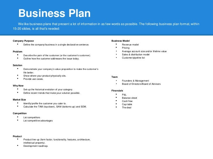 Entrepreneur magazine one page business plan