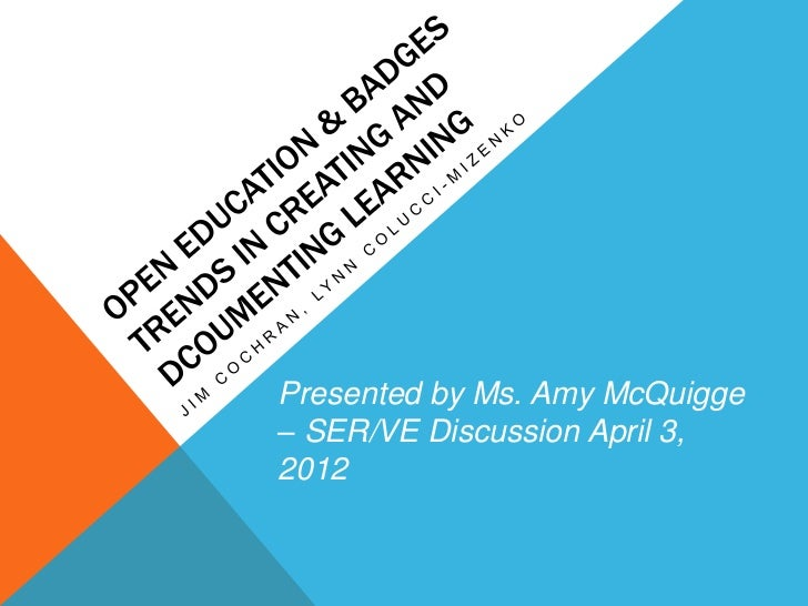 Presented by Ms. Amy McQuigge– SER/VE Discussion April 3,2012