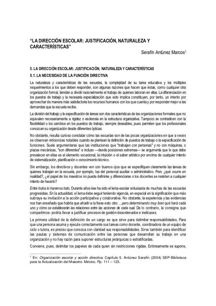 """""""LA DIRECCIÓN ESCOLAR: JUSTIFICACIÓN, NATURALEZA YCARACTERÍSTICAS""""                                              Serafín An..."""