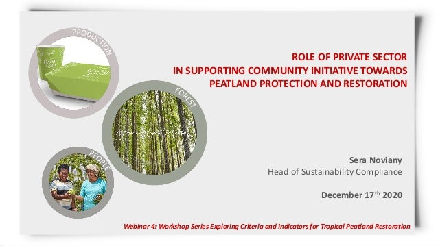 ROLE OF PRIVATE SECTOR IN SUPPORTING COMMUNITY INITIATIVE TOWARDS PEATLAND PROTECTION AND RESTORATION Webinar 4: Workshop ...