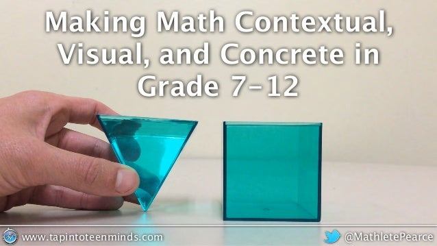 Making Math Contextual, Visual, and Concrete in Grade 7-12 @MathletePearcewww.tapintoteenminds.com