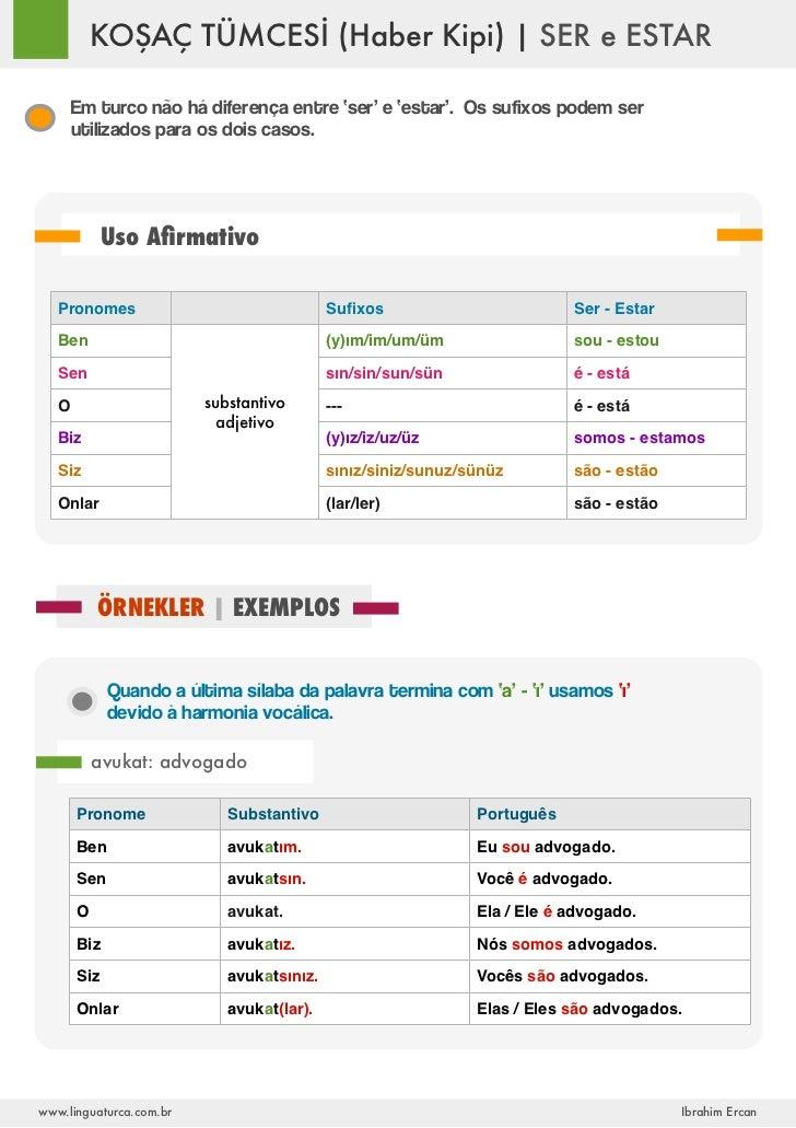 KOŞAÇ TÜMCESİ (Haber Kipi) | SER e ESTAR       Em turco não há diferença entre 'ser' e 'estar'. Os sufixos podem ser      ...