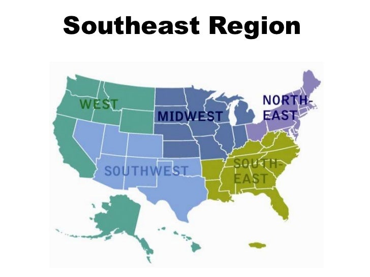 Us Map Of Southeast States - Us map southeast region