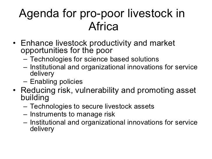 Agenda for pro-poor livestock in  Africa <ul><li>Enhance livestock productivity and market opportunities for the poor </li...