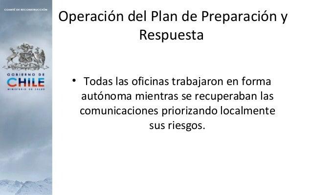 Operación del Plan de Preparación y Respuesta • Todas las oficinas trabajaron en forma autónoma mientras se recuperaban la...