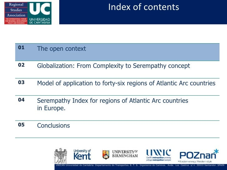Index of contents01   The open context02   Globalization: From Complexity to Serempathy concept03   Model of application t...