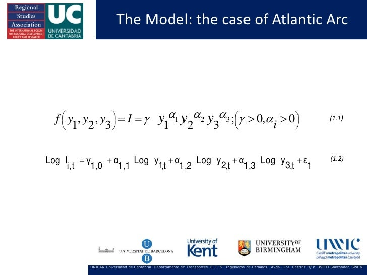 The Model: the case of Atlantic Arc  f  y , y , y   I          1 2 3                                           y1...