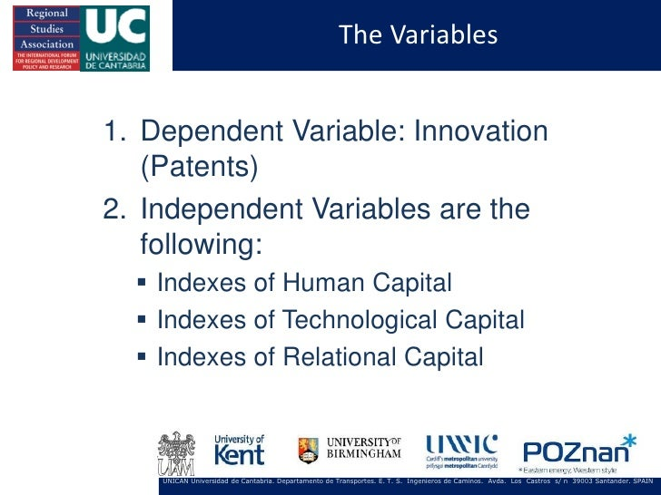 The Variables1. Dependent Variable: Innovation   (Patents)2. Independent Variables are the   following:   Indexes of Huma...