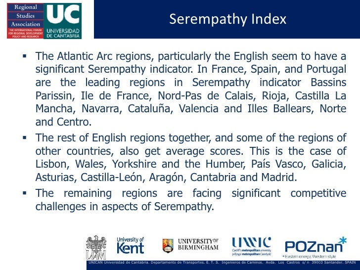 Serempathy Index The Atlantic Arc regions, particularly the English seem to have a  significant Serempathy indicator. In ...