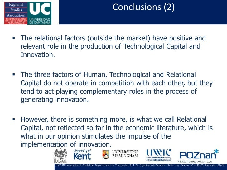 Conclusions (2) The relational factors (outside the market) have positive and  relevant role in the production of Technol...
