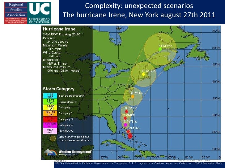 Complexity: unexpected scenarios      The hurricane Irene, New York august 27th 2011UNICAN Universidad de Cantabria. Depar...