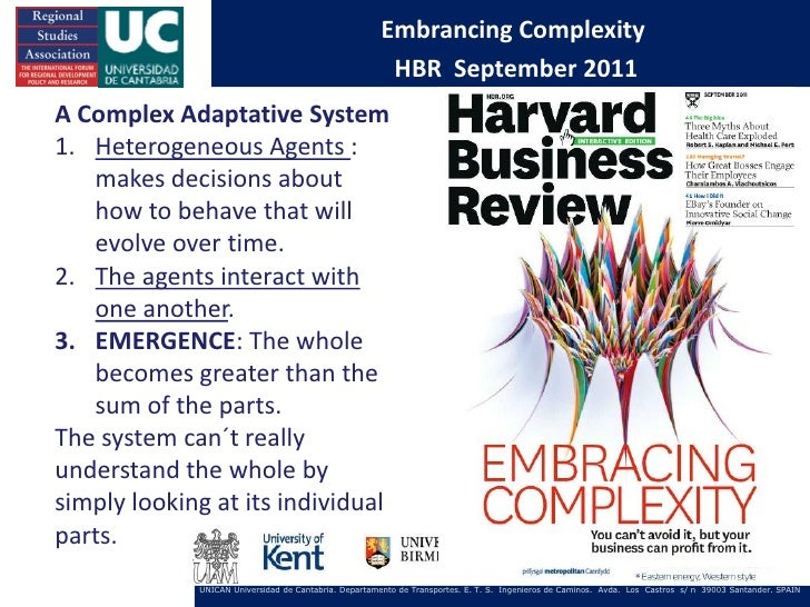 Embrancing Complexity                                                       HBR September 2011A Complex Adaptative System1...