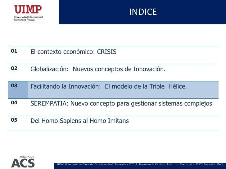 INDICE01   El contexto económico: CRISIS02   Globalización: Nuevos conceptos de Innovación.03   Facilitando la Innovación:...