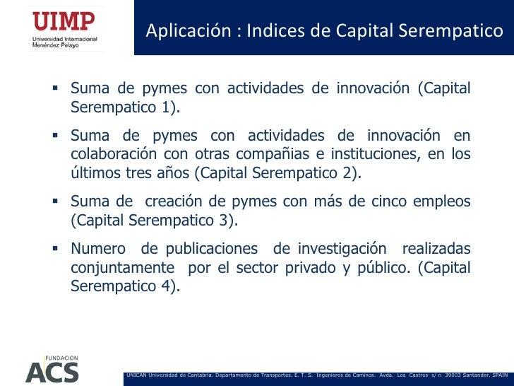 Aplicación : Indices de Capital Serempatico Suma de pymes con actividades de innovación (Capital  Serempatico 1). Suma d...
