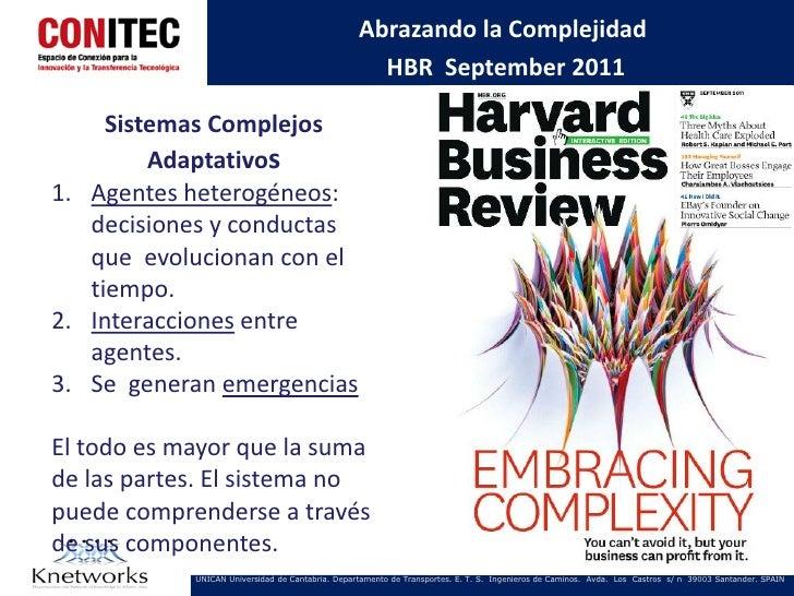 Abrazando la Complejidad                                                    HBR September 2011     Sistemas Complejos     ...