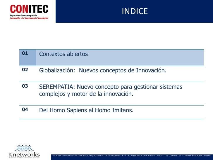 INDICE01   Contextos abiertos02   Globalización: Nuevos conceptos de Innovación.03   SEREMPATIA: Nuevo concepto para gesti...