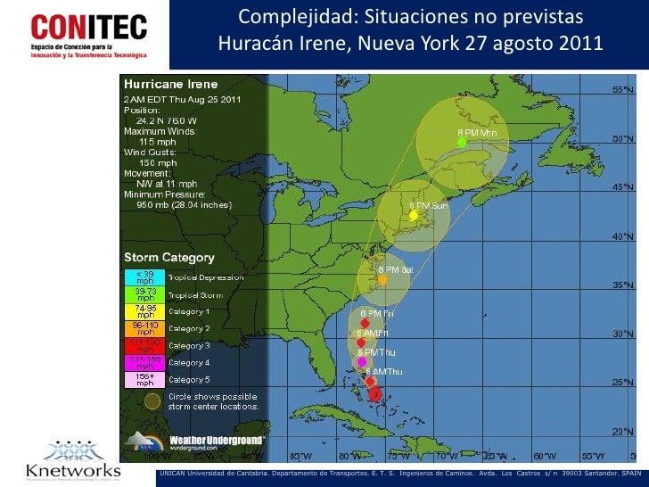 Complejidad: Situaciones no previstas                Huracán Irene, Nueva York 27 agosto 2011UNICAN Universidad de Cantabr...