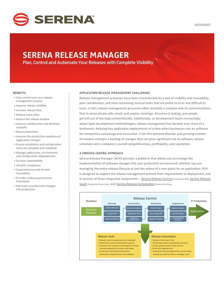 DATASHEET       SERENA RELEASE MANAGER       Plan, Control and Automate Your Releases with Complete VisibilityBENEFITS    ...
