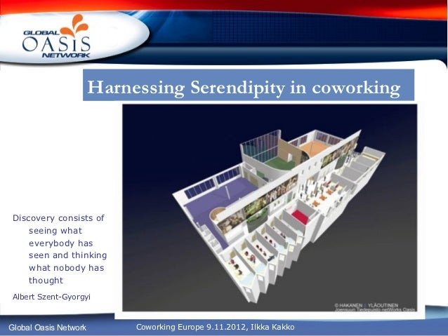 Harnessing Serendipity in coworkingDiscovery consists of    seeing what    everybody has    seen and thinking    what nobo...