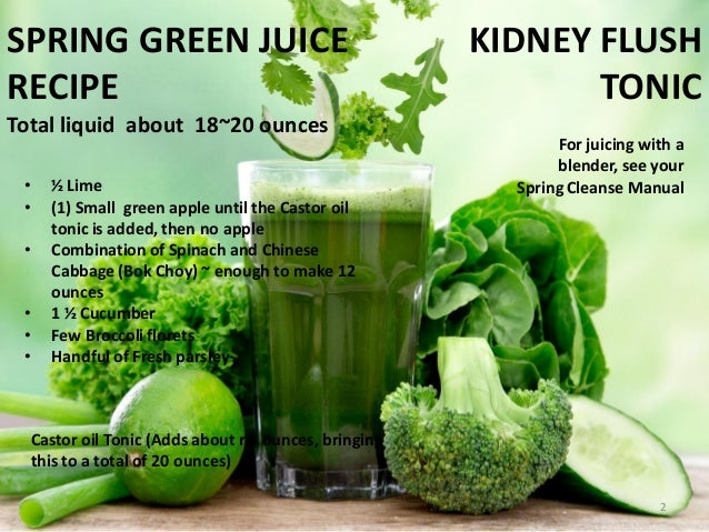KIDNEY FLUSH TONIC For juicing with a blender, see your Spring Cleanse Manual SPRING GREEN JUICE RECIPE Total liquid about...