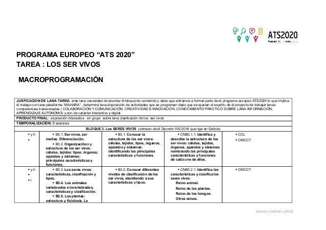 """PROGRAMA EUROPEO """"ATS 2020"""" TAREA : LOS SER VIVOS MACROPROGRAMACIÓN JUSFICACION DE LANA TAREA: ante lana necesidad de abo..."""
