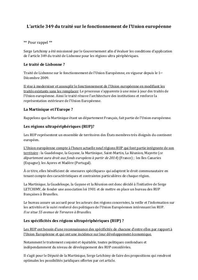 L'article 349 du traité sur le fonctionnement de lUnion européenne  ** Pour rappel ** Serge...
