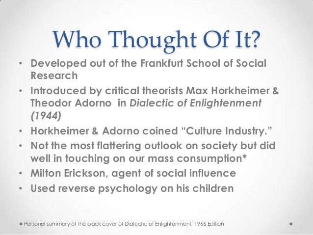 culture industry thesis adorno The standardization and interchangeability of culture the significance of adorno's thought on the culture industry is adorno invokes the distraction thesis.