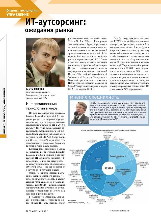 бизнес, технологии, управление  ИТ-аутсорсинг:  бизнес, технологии, управление  ожидания рынка  Сергей Соболев, директор п...