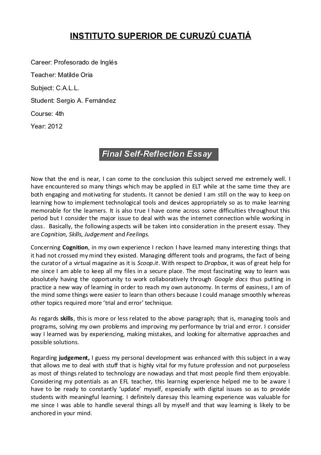 callfinal self reflection essay instituto superior de curuz cuaticareer profesorado de inglsteacher matilde oriasubject callstudent - Examples Of Self Reflection Essay