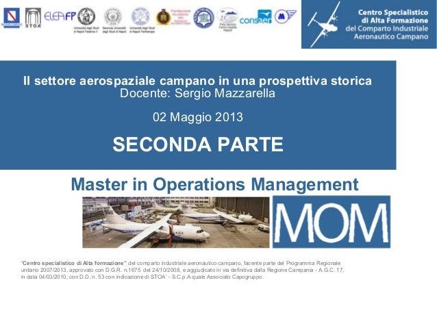 """Il settore aerospaziale campano in una prospettiva storicaDocente: Sergio Mazzarella02 Maggio 2013SECONDA PARTE""""Centro spe..."""