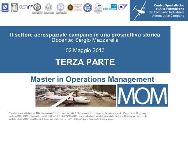 """Il settore aerospaziale campano in una prospettiva storicaDocente: Sergio Mazzarella02 Maggio 2013TERZA PARTE""""Centro speci..."""