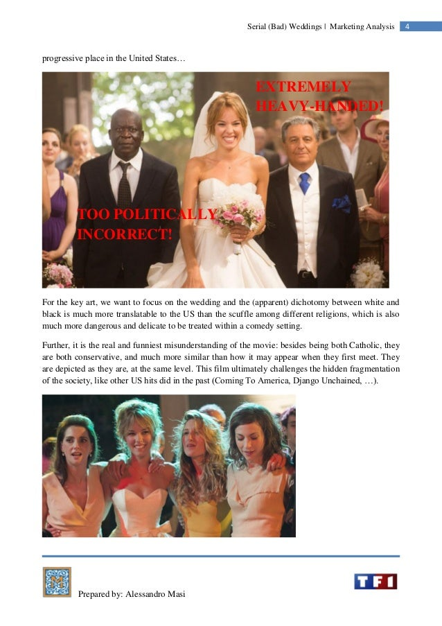 Prepared by: Alessandro Masi 4Serial (Bad) Weddings | Marketing Analysis progressive place in the United States… For the k...