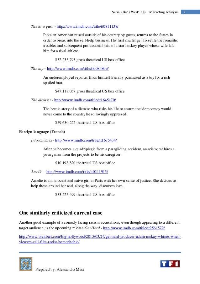 Prepared by: Alessandro Masi 7Serial (Bad) Weddings | Marketing Analysis The love guru - http://www.imdb.com/title/tt08111...