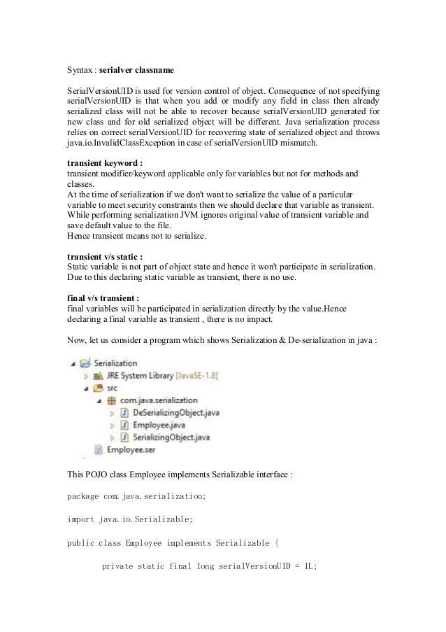 Serialization & De-serialization in Java
