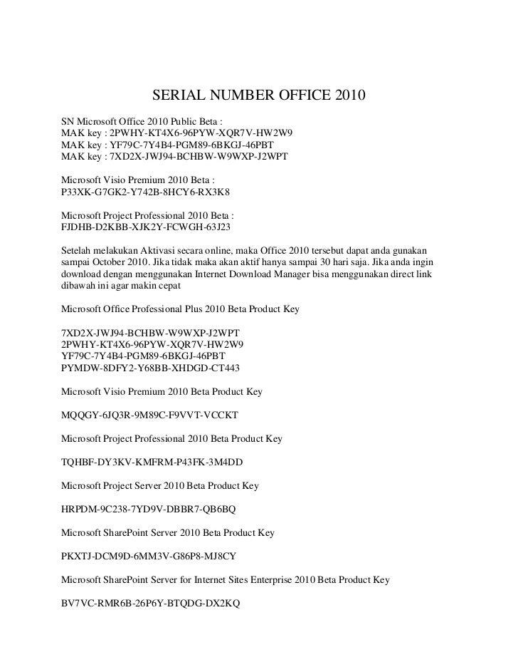 Serial number office 2010 a ktif
