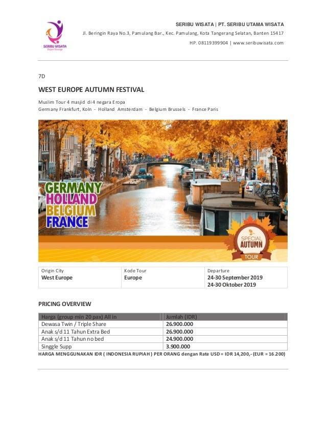 Paket Tour Eropa 7 Hari Autumn By Ey