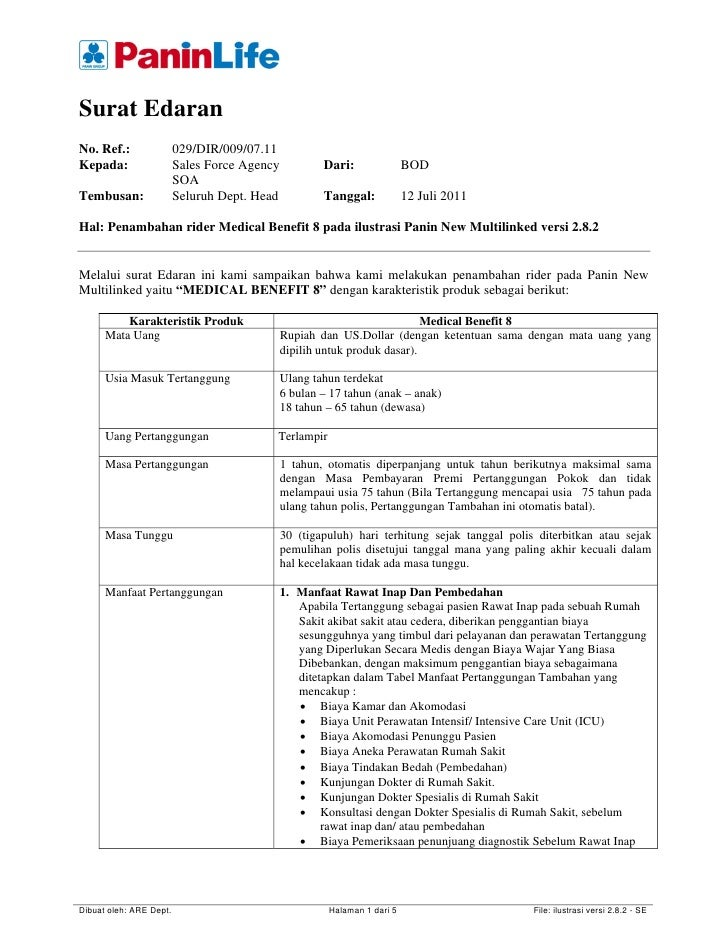 Surat EdaranNo. Ref.:                029/DIR/009/07.11Kepada:                  Sales Force Agency           Dari:         ...