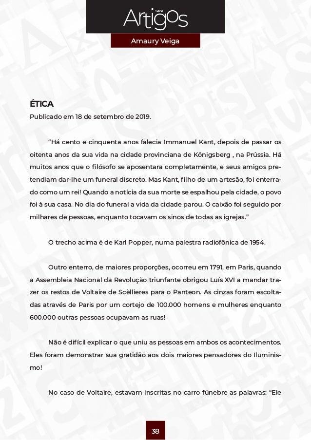 """Série Amaury Veiga 38 ÉTICA Publicado em 18 de setembro de 2019.  """"Há cento e cinquenta anos falecia Immanuel Kant, depoi..."""