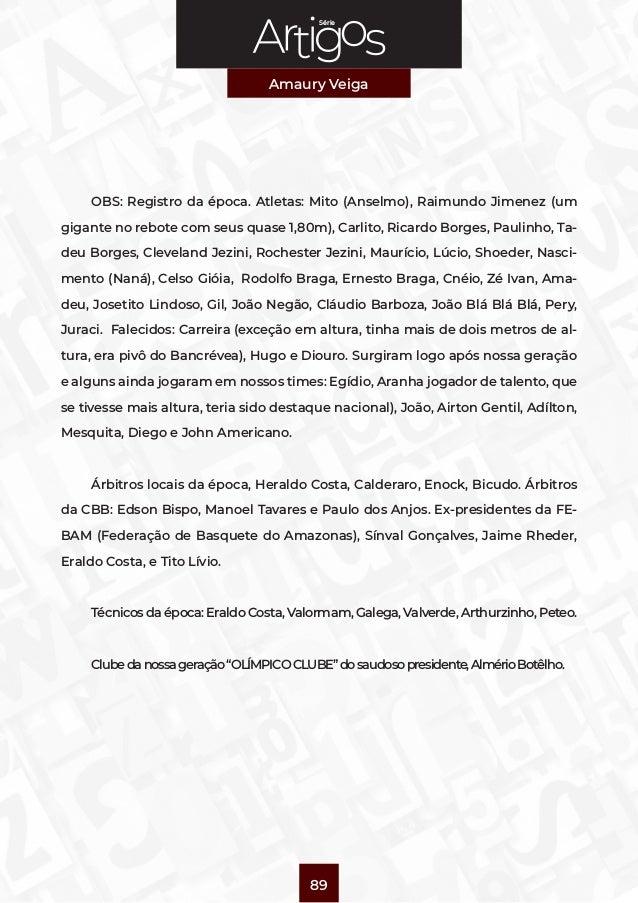 Série Amaury Veiga 89 OBS: Registro da época. Atletas: Mito (Anselmo), Raimundo Jimenez (um gigante no rebote com seus qua...