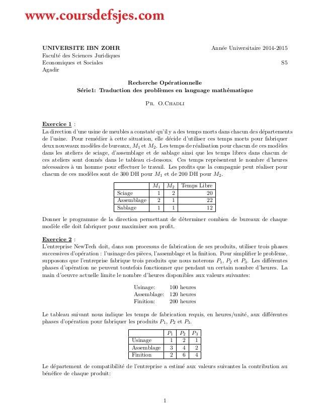 UNIVERSITE IBN ZOHR Ann´ee Universitaire 2014-2015 Facult´e des Sciences Juridiques Economiques et Sociales S5 Agadir Rech...