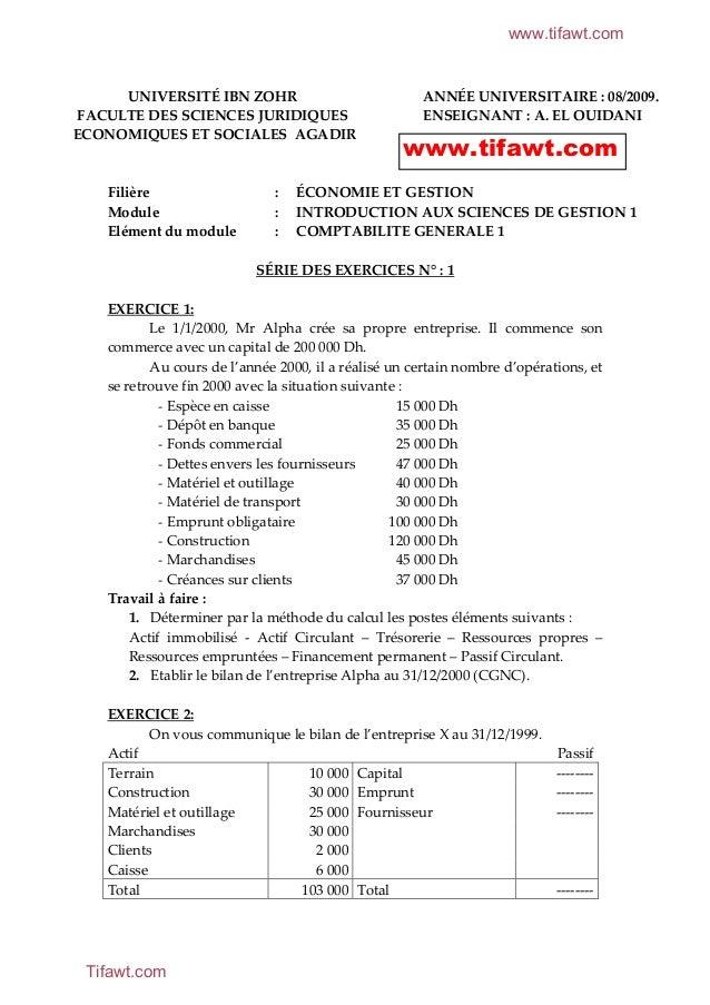 www.tifawt.com  UNIVERSITÉ IBN ZOHR FACULTE DES SCIENCES JURIDIQUES ECONOMIQUES ET SOCIALES AGADIR  Filière Module Elément...