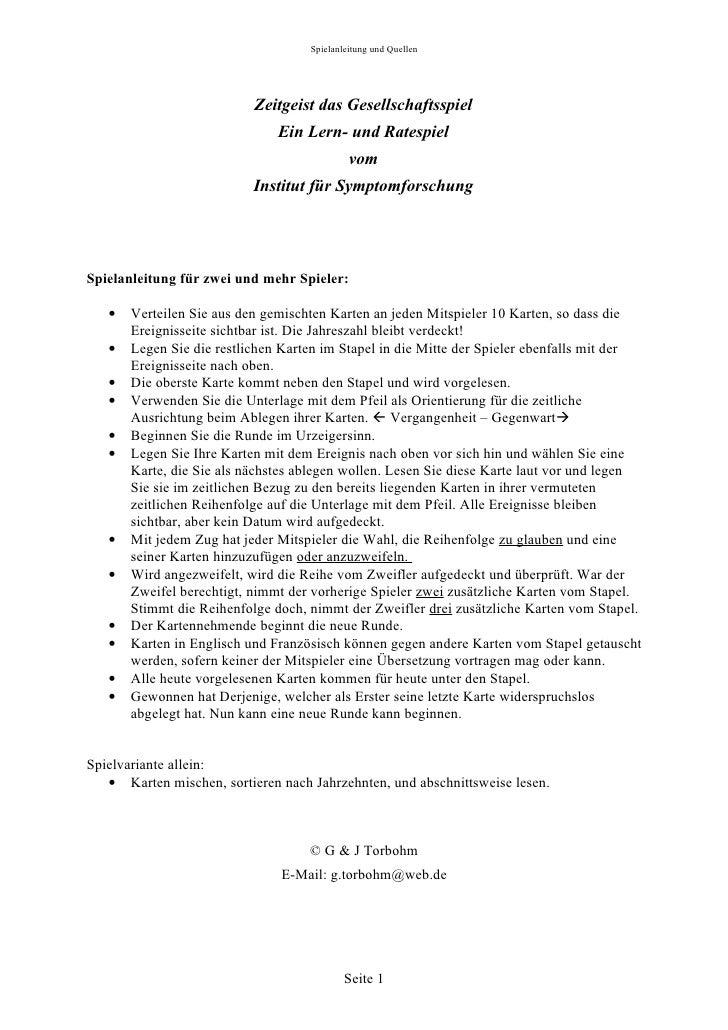 Spielanleitung und Quellen                           Zeitgeist das Gesellschaftsspiel                               Ein Le...