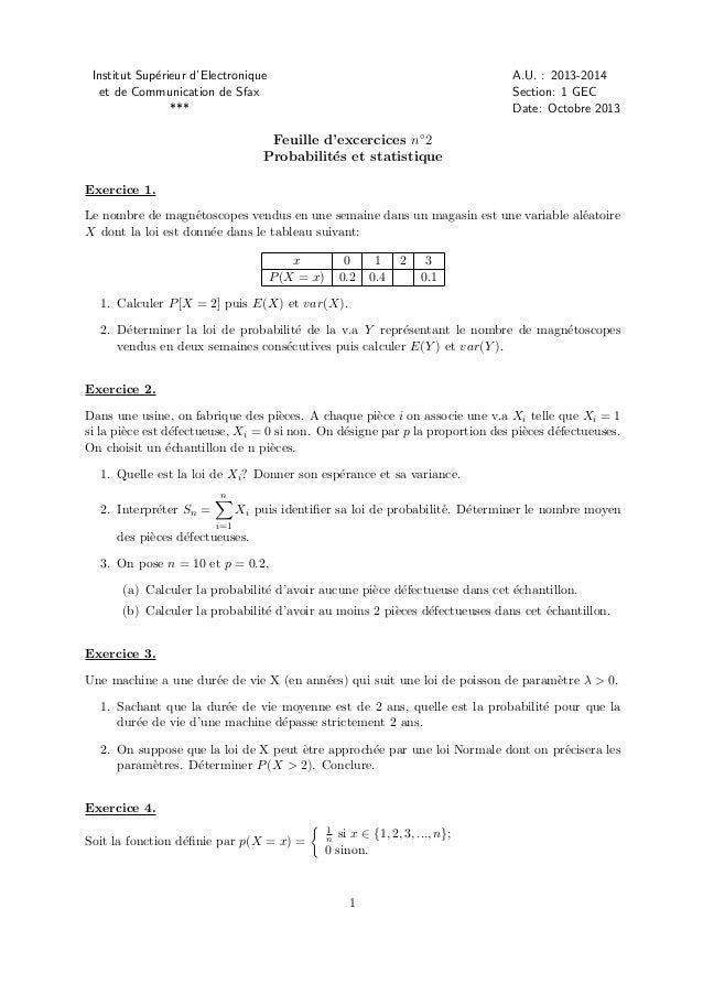 Institut Sup´rieur d'Electronique e et de Communication de Sfax ***  A.U. : 2013-2014 Section: 1 GEC Date: Octobre 2013  F...