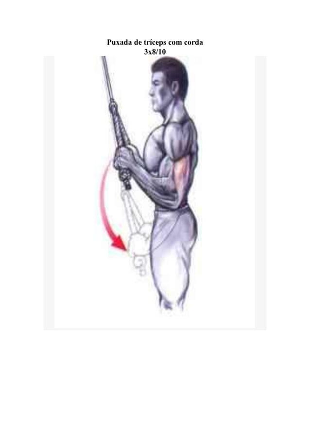 Puxada de tríceps com corda 3x8/10