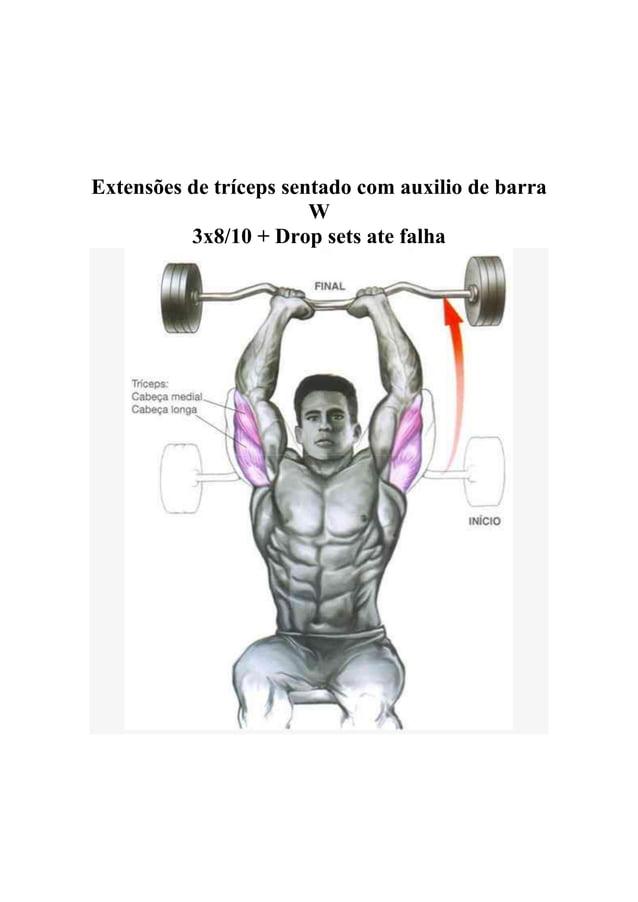 Extensões de tríceps sentado com auxilio de barra W 3x8/10 + Drop sets ate falha