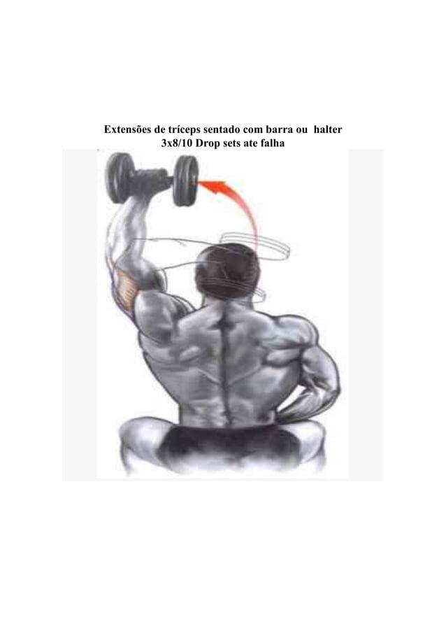 Extensões de tríceps sentado com barra ou halter 3x8/10 Drop sets ate falha