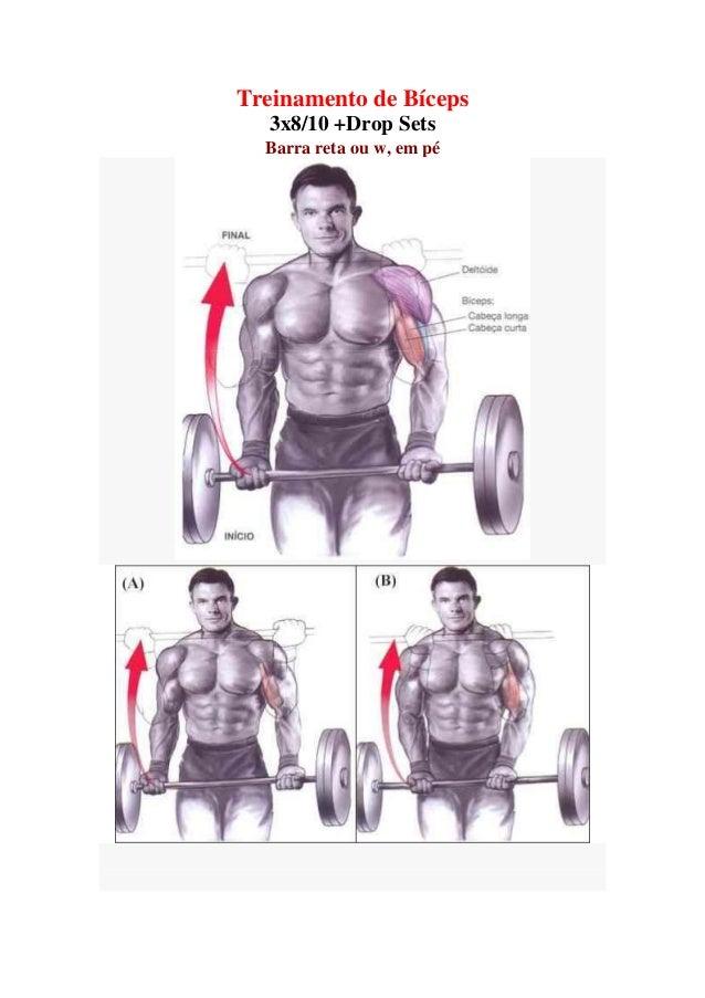 Treinamento de Bíceps 3x8/10 +Drop Sets Barra reta ou w, em pé